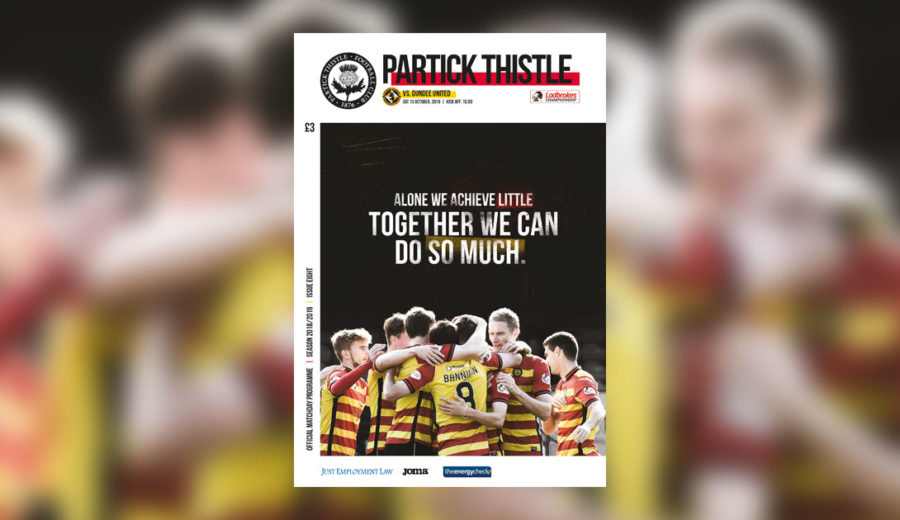 Tomorrow's match programme against Dundee United | Partick Thistle FC